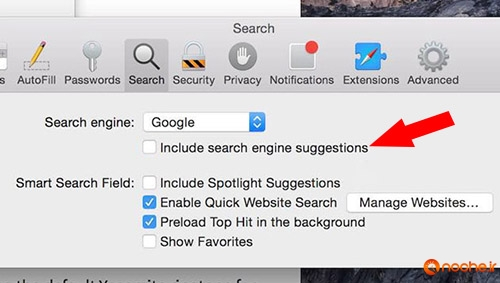 Exclude-search suggestion in-safari